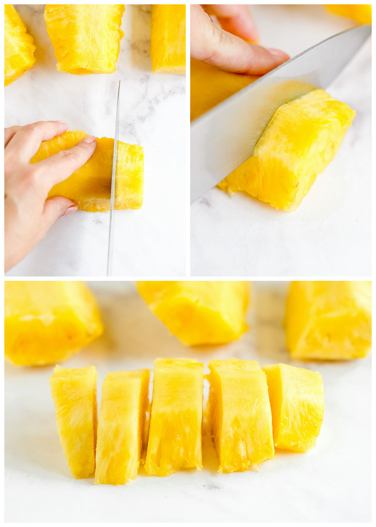 slicing pineapple into cubes without any skin