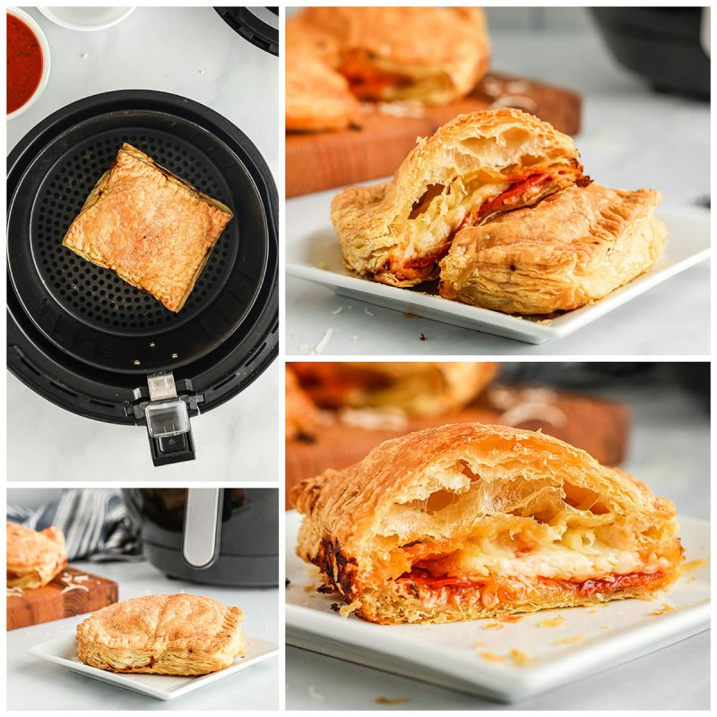 collague of cooking and serving air fryer izza pockets