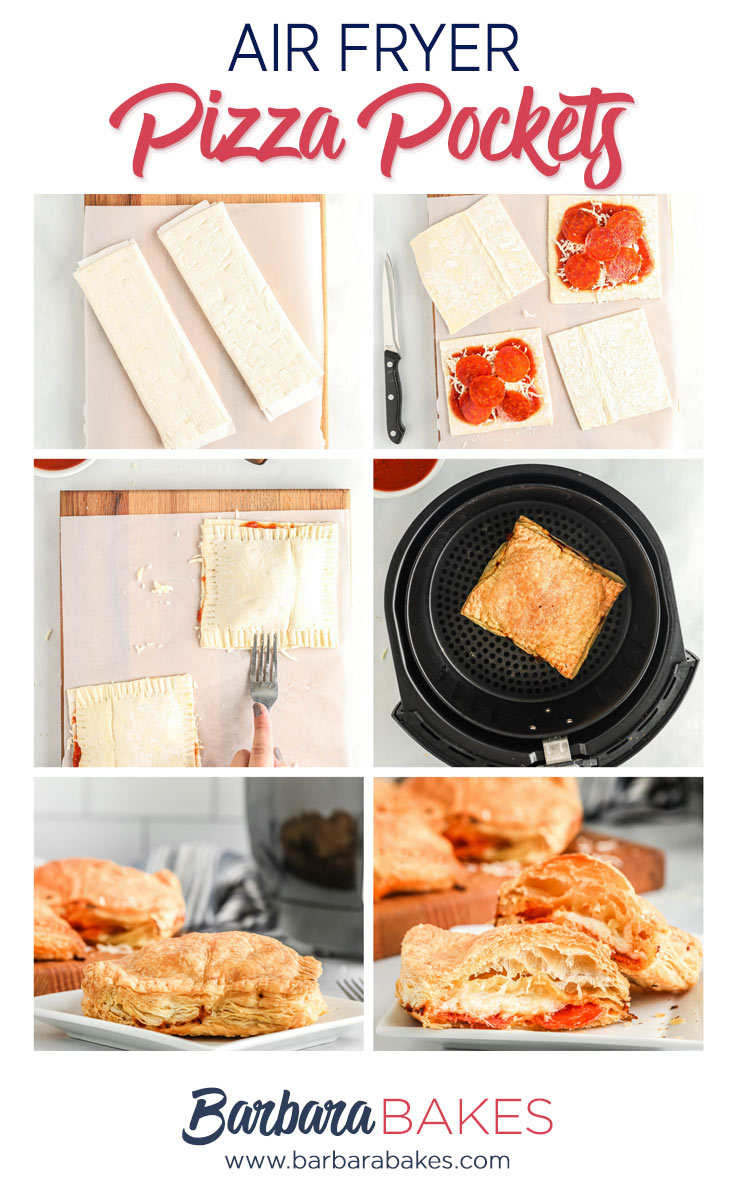 pinterest image with six photos of how to make and cook air fryer hot pockets with puff pastry, pepperoni and cheese