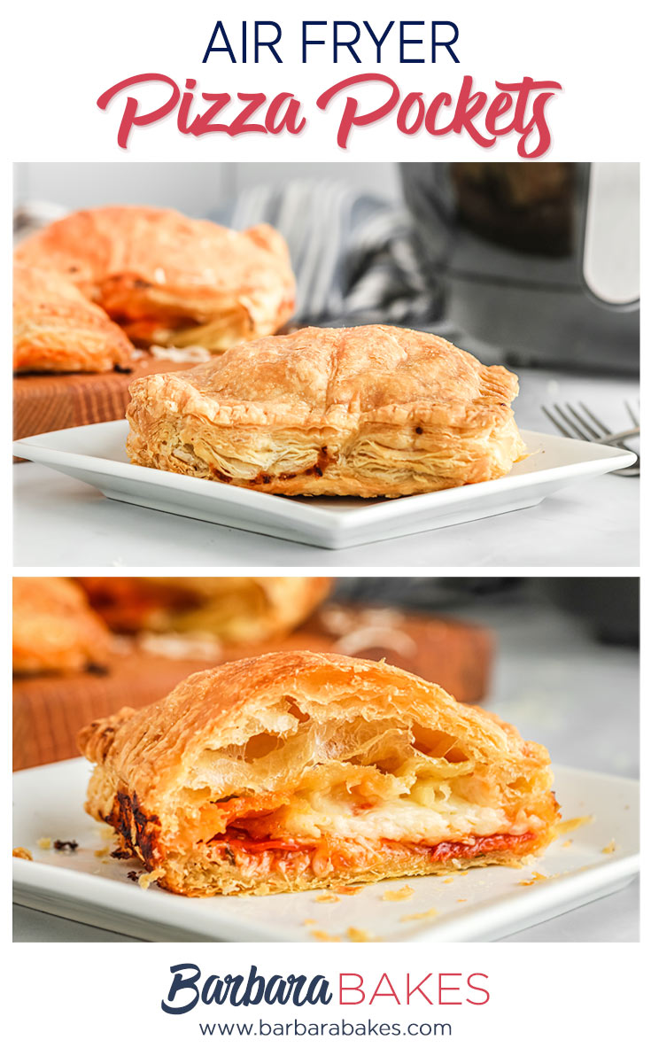 pinterest button with two images of air fryer pizza pockets, one whole and one cut in half