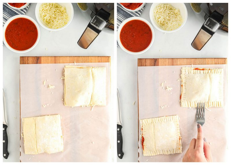 closing puff pastry pockets to cook in the air fryer