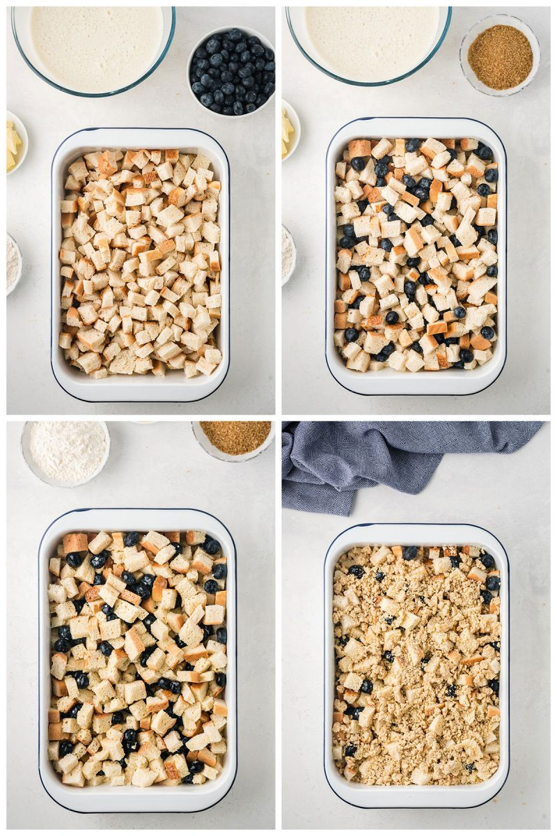 making blueberry french toast casserole in a large baking dish with bread cubes, fresh berries and cream cheese custard