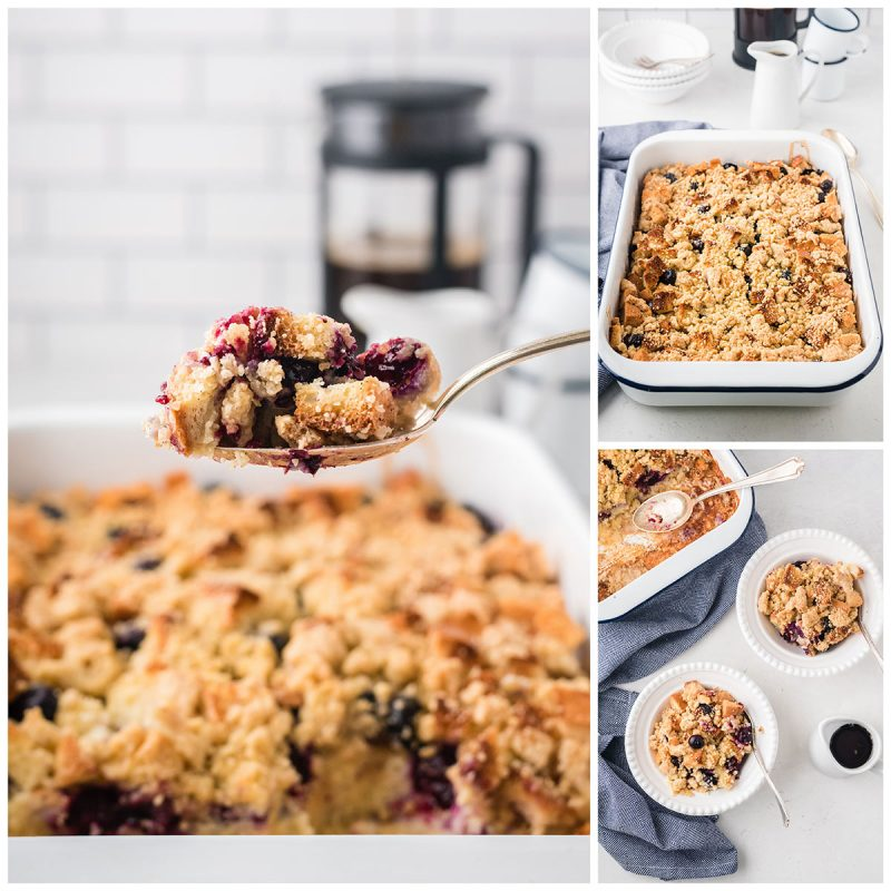 serving blueberry french toast casserole from a baking dishin to two smaller white ceramic bowls