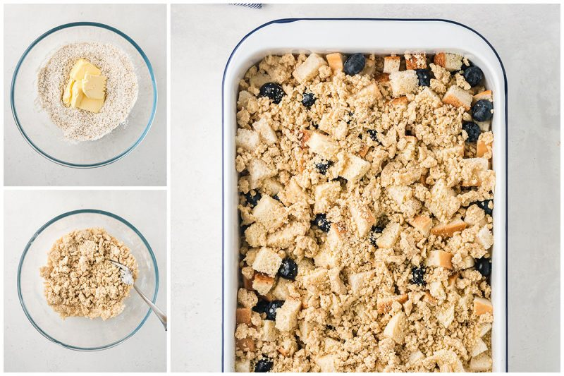 adding crumbled sweet topping to a baking dish of blueberry french toast