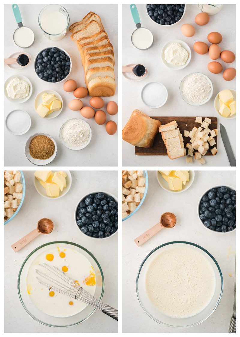 ingredients for blueberry french toast casserole in four different images, including bread, eggs, cream cheese, sugar, flour and vanilla extract