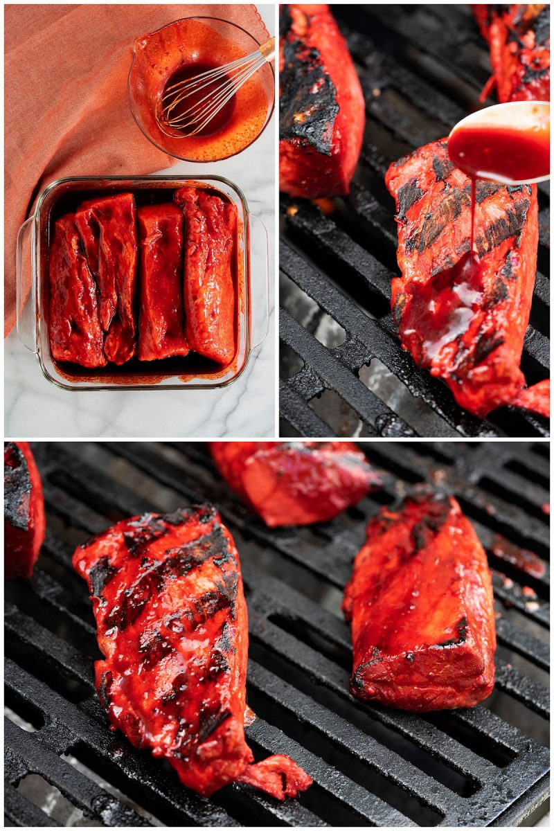 collage of grilled pork for chinese stuffed pork buns being grilled on an outdoor grill