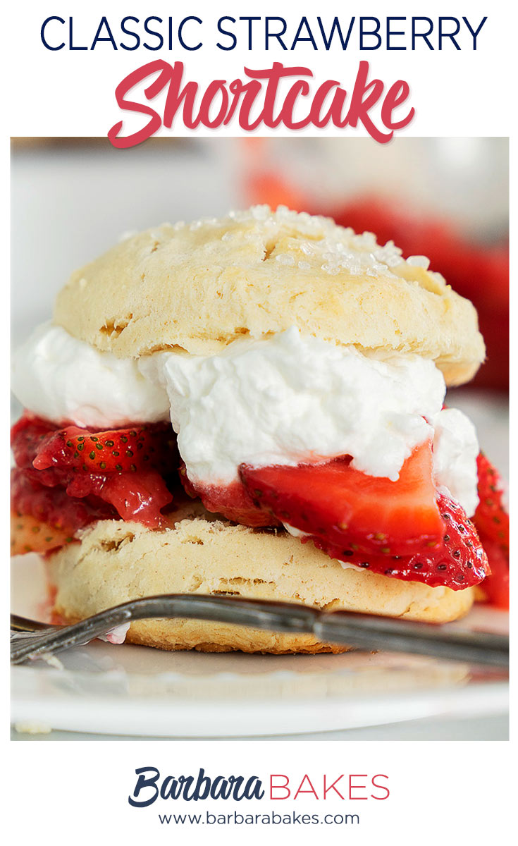 pintereset button for classic strawberry shortcakes on homemade biscuits