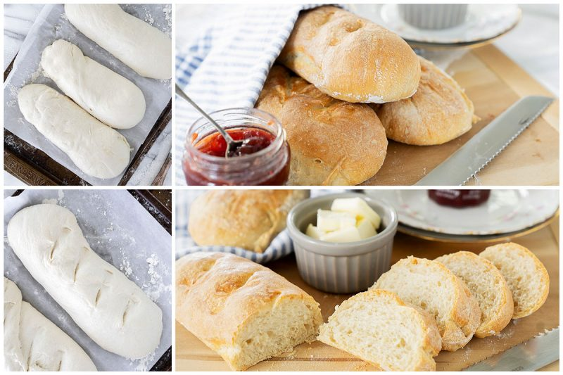 A collage of pictures. 3 loaves of French bread on a cutting board with jam, unbaked French bread on a baking sheet