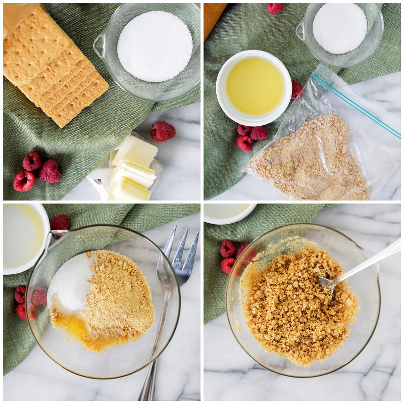 making graham cracker crust for raspberry white chocoalte cheesecakes in mason jars