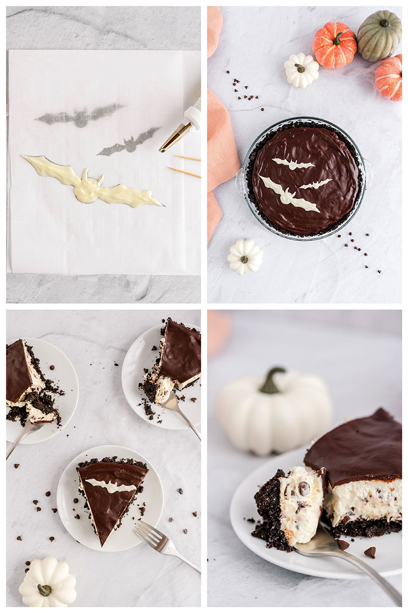 decorating halloween cheesecake with a white chocolate bat template