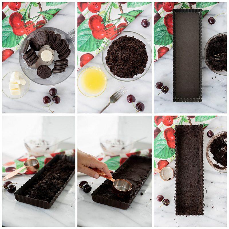 making an oreo cookie crust in a rectangular tart pan