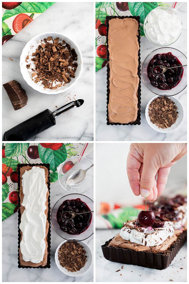 decorating black forest tart with chocolate shavings, cherries and whipped cream
