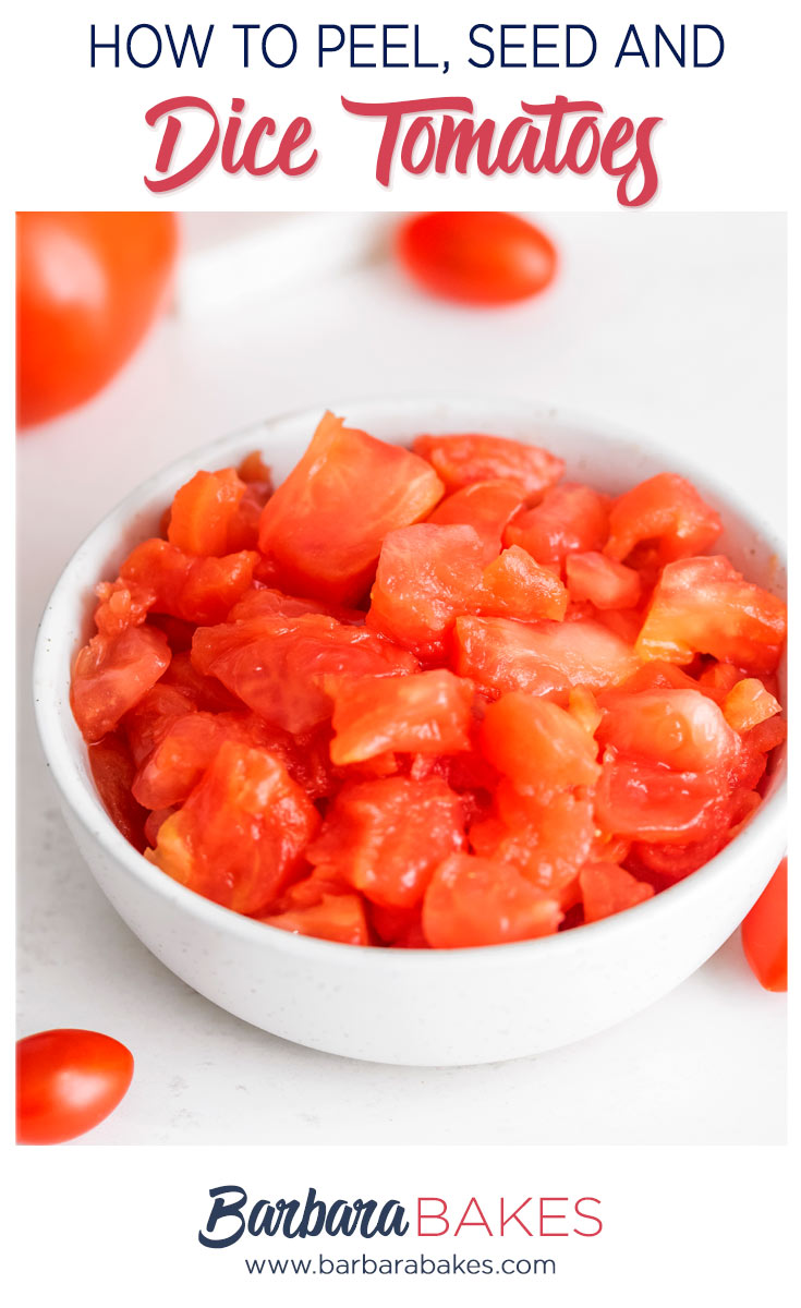 pinterest button with a bowl of diced, seeded and peeled fresh tomatoes