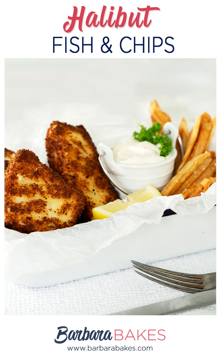 pinterest button for halibut fish and chips with tartar sauce