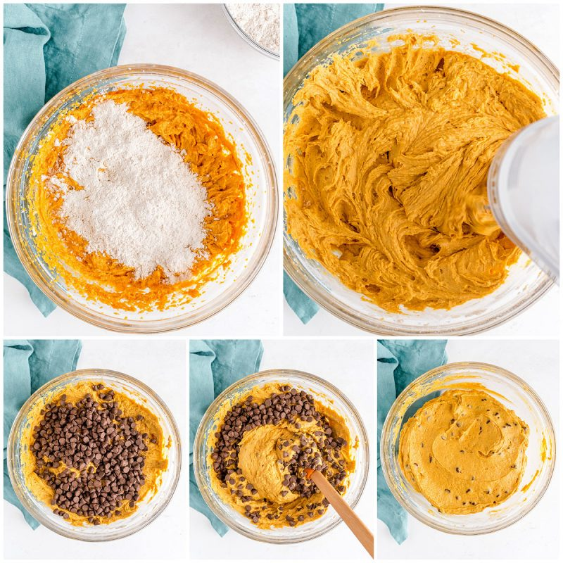 mixing the wet and dry ingredients for pumpkin bundt cake with chocolate chips in a mixing bowl