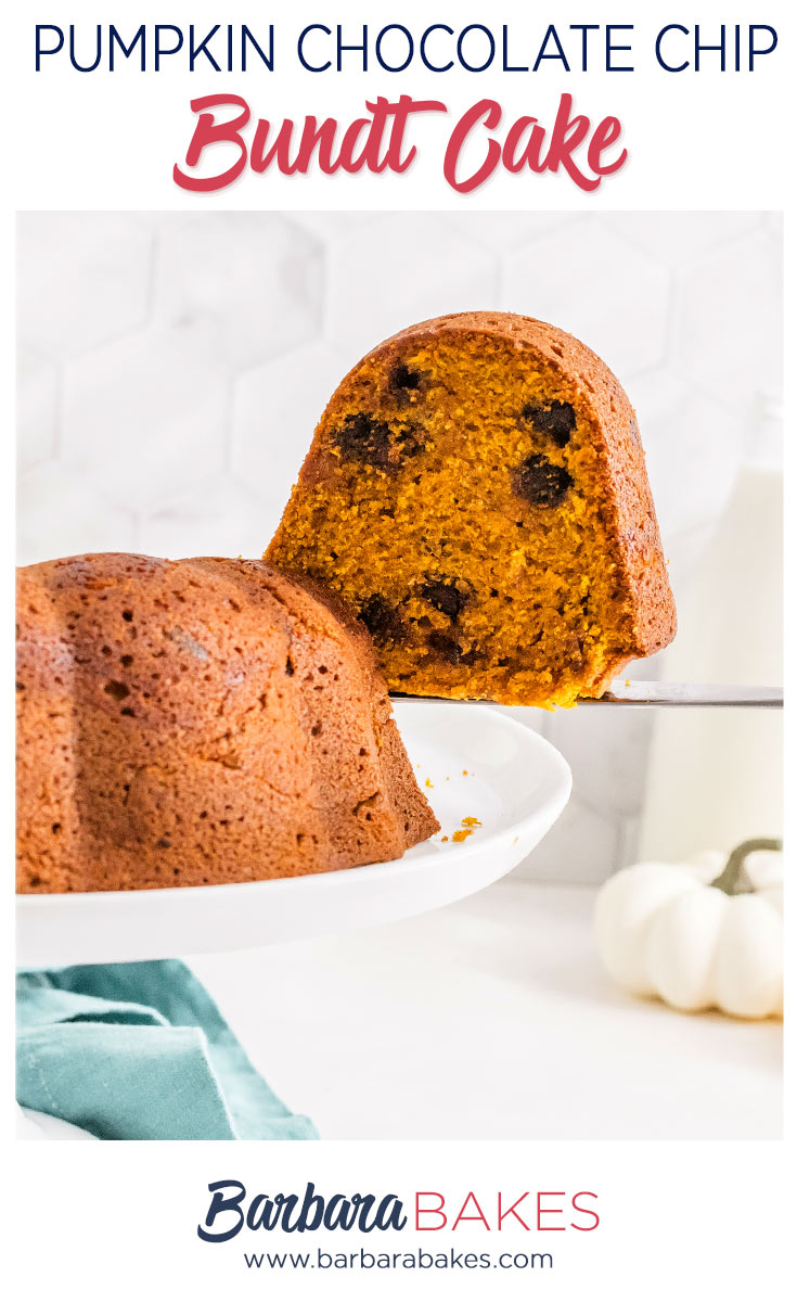pinterest button of pumpkin chocolate chip bundt cake