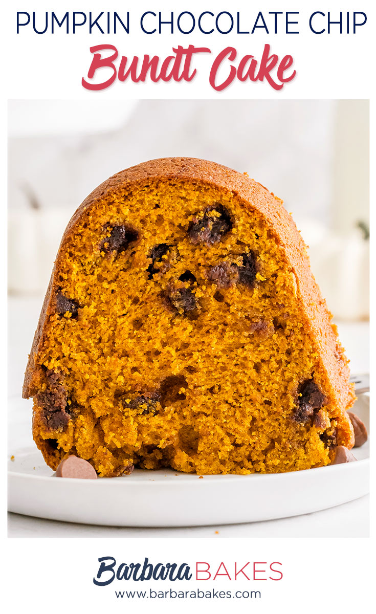 This Pumpkin Chocolate Chip Bundt Cake is moist, tender and loaded with the sweet, delicious flavors of fall. via @barbarabakes