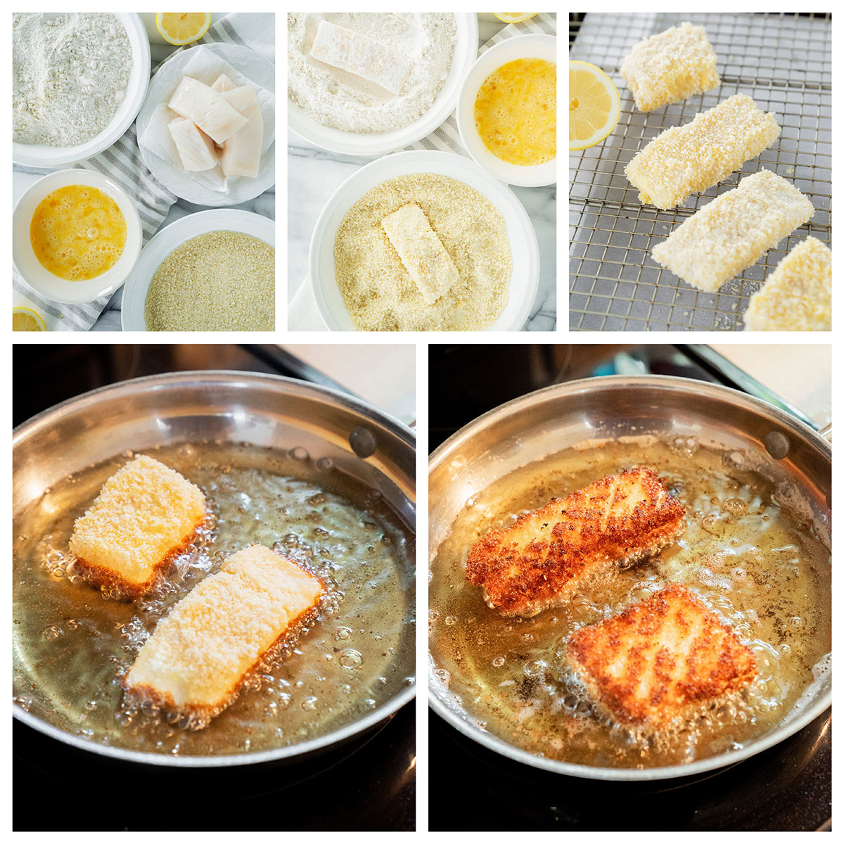 dredging halibut fillets in flour, eggs and panko breadcrumbs and frying in a skillet of oil