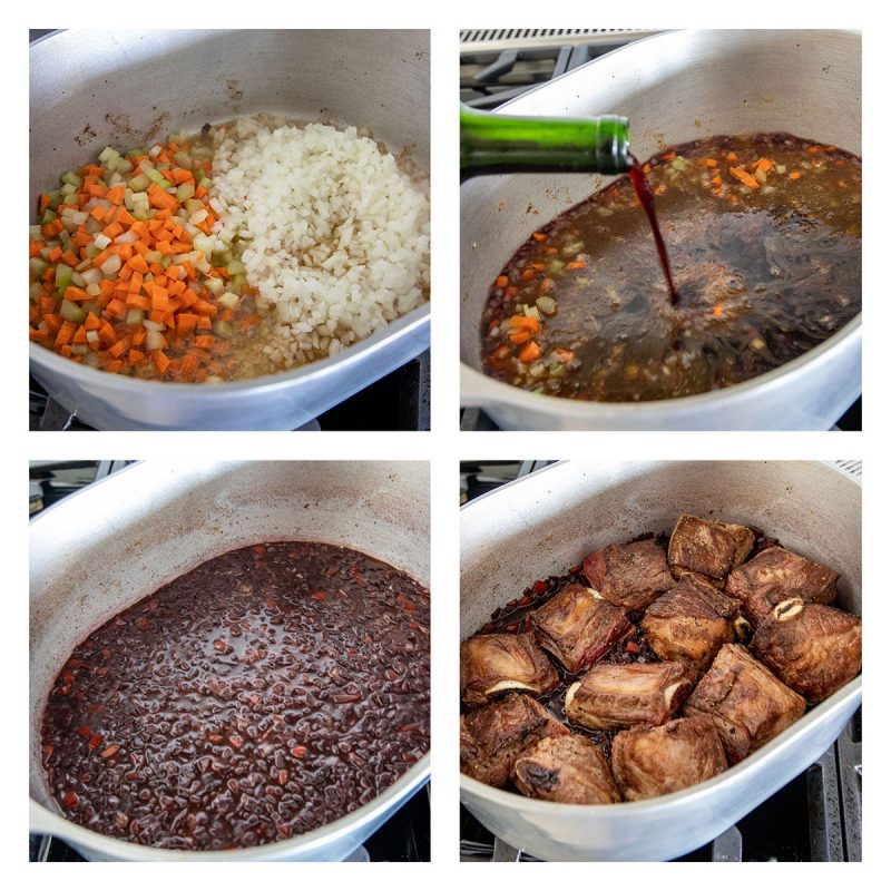 collage of pictures browned braised beef short ribs and creating the sauce