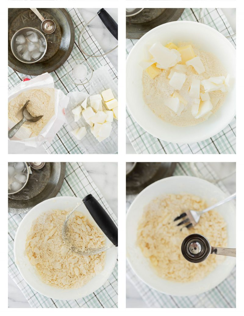 mixing the dough for pie crust in four step images