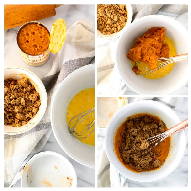 making the filling for homemade pumpkin pie with libby's pumpkin puree and brown sugar