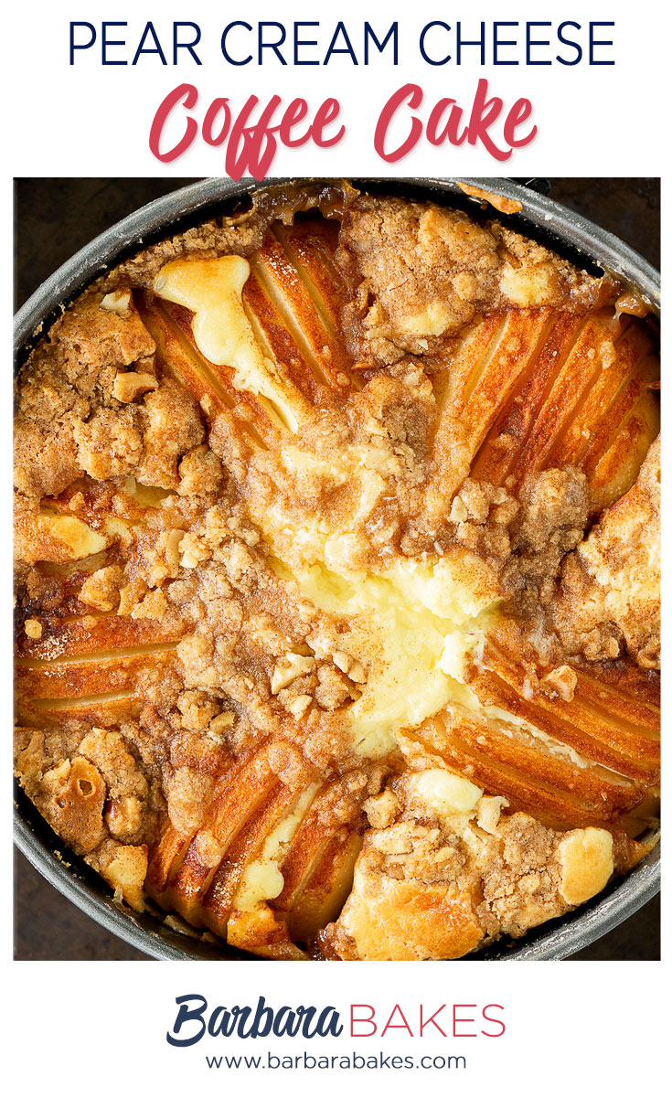 pinterest button of pear coffee cake