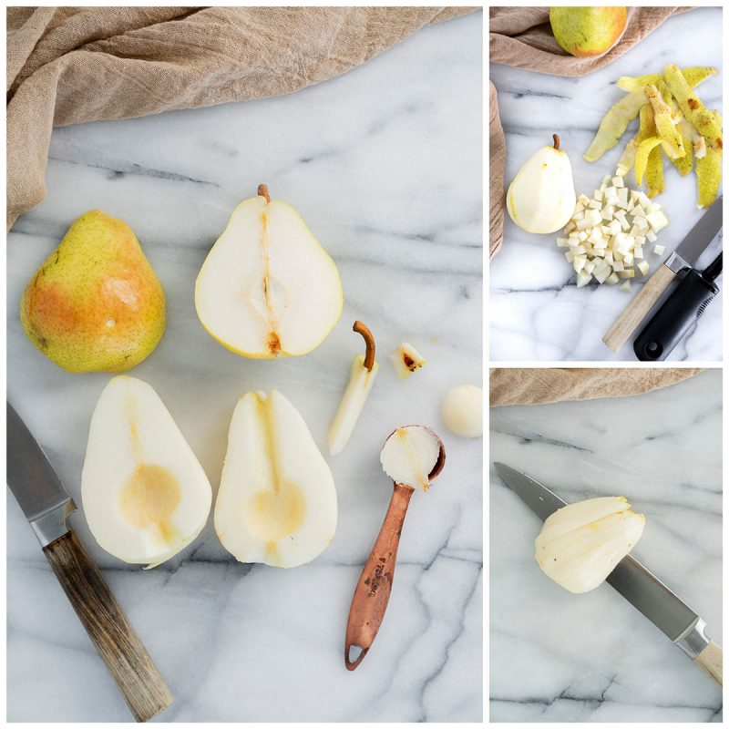 how to slice fresh bartlett pears for pear cake
