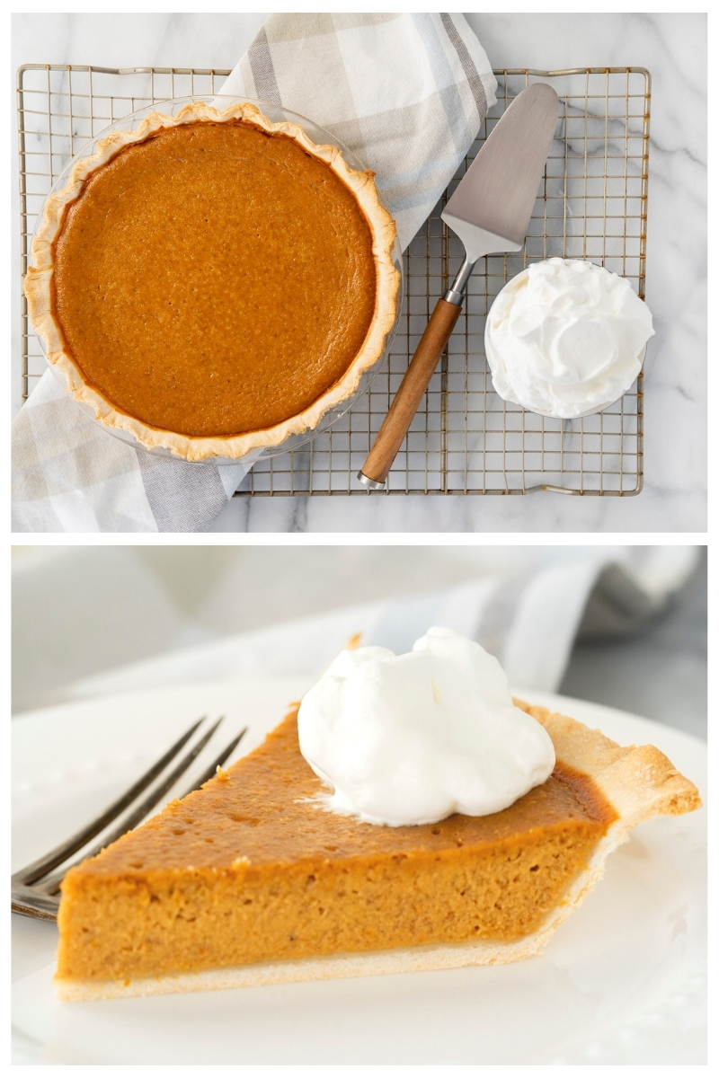 slicing homemade pumpkin pie with whipped cream on top