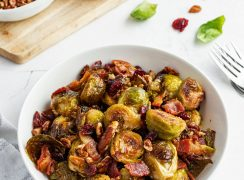 bowl of crispy roasted brussel sprouts