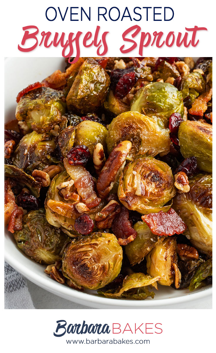 pinterest button for roasted brussel sprouts and bacon