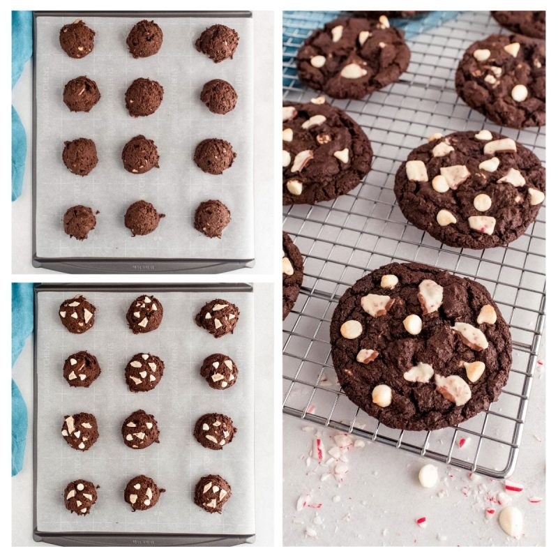 collage of chocolate peppermint cookies on a baking sheet and cooling rack