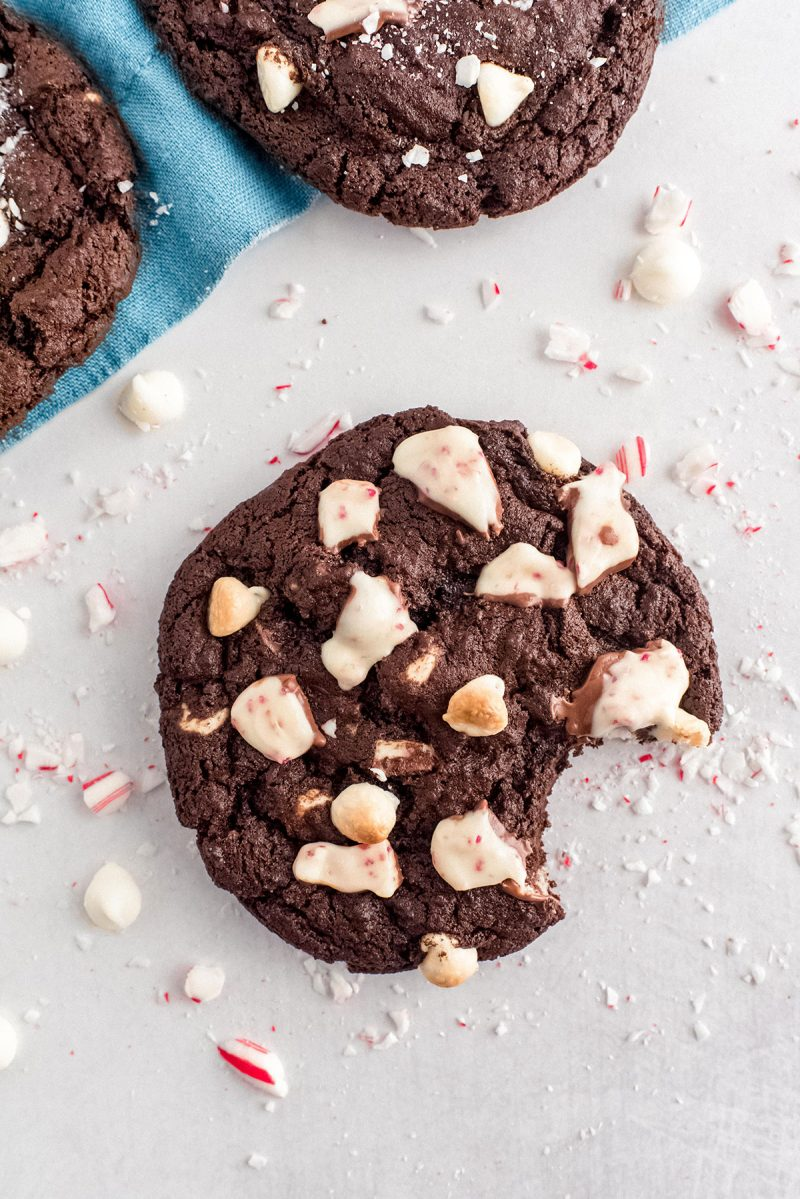 chocolate peppermint cookie with a bite taken out
