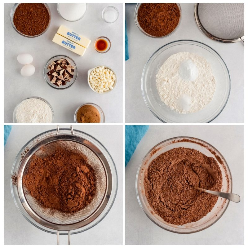 steps to make chocoalte cookies with peppermint chips