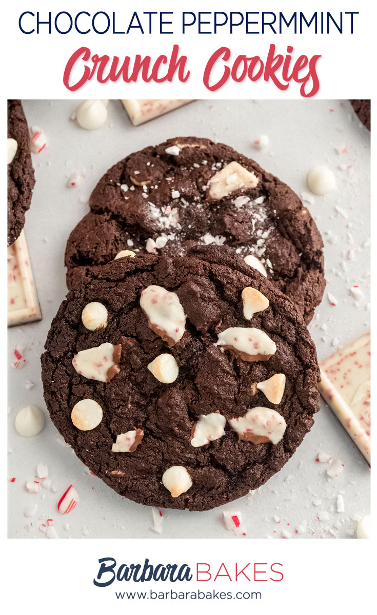 chocolate peppermint cookies with crushed candy canes and peppermint bark