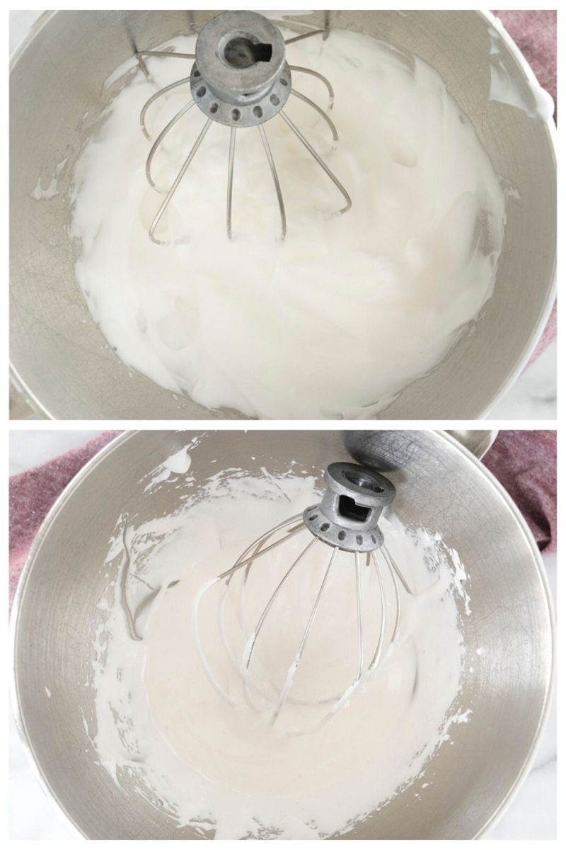 mixing bowl with whipped egg whites for homemade marshmallow