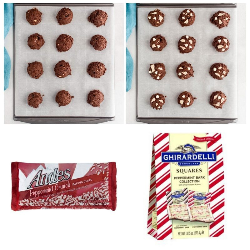 chocolate peppermitn cookies on a baking sheet with the holiday candy packages they're made with