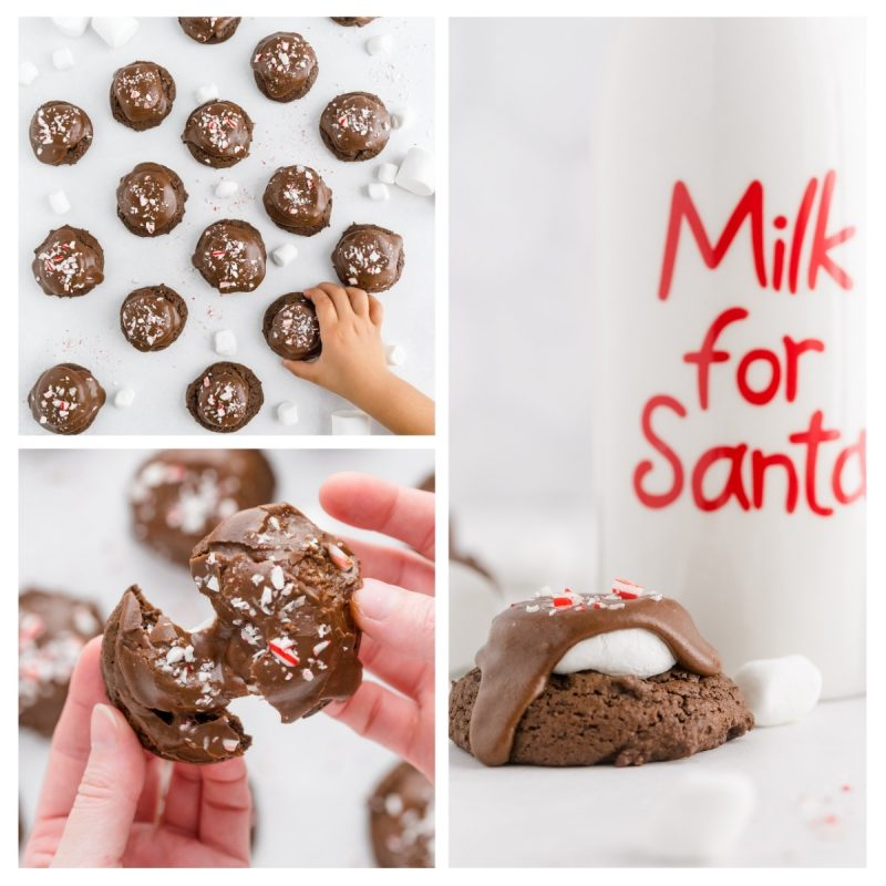finished chocolate marshmallow cookies with peppermint candy