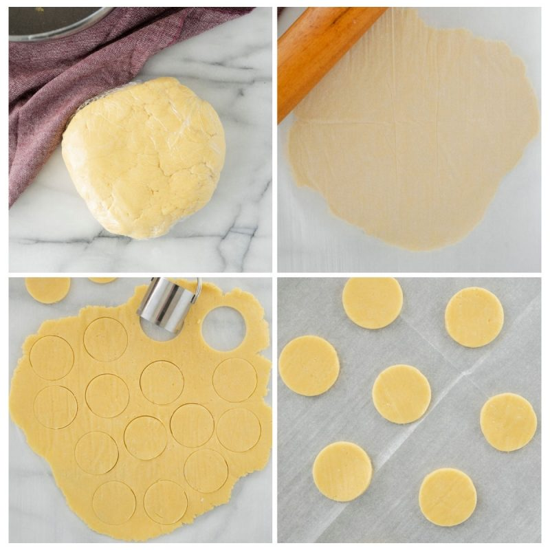 rolling and cutting butter cookie dough for chocolate covred marshmallow cookies
