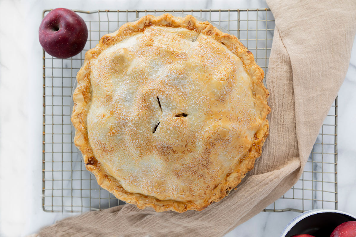apple pie with golden crust