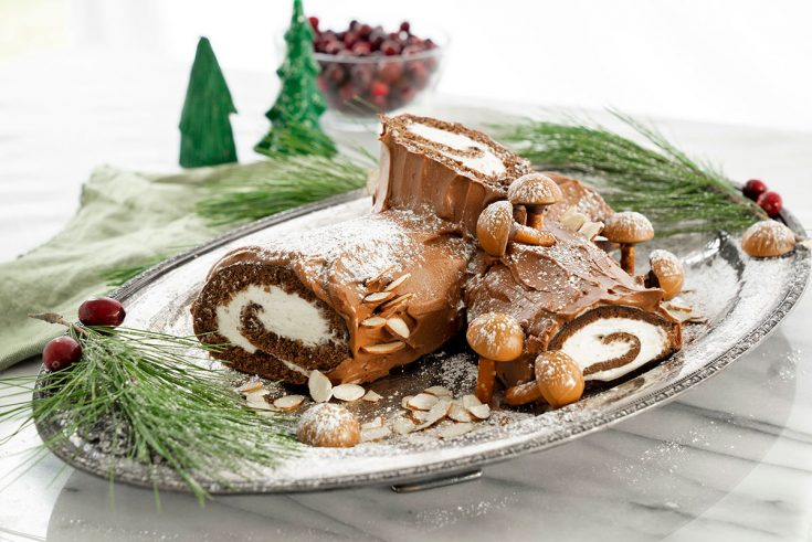 yule log cake on a serving platter with christmas decorations
