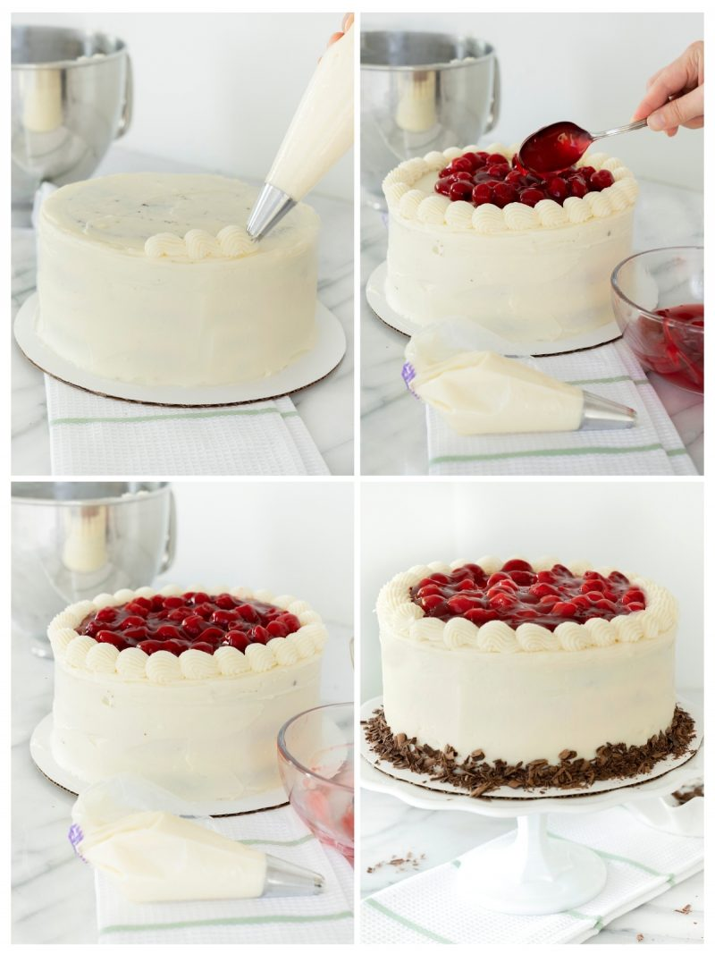 frosting black forest cheesecake with cherry preserves on top