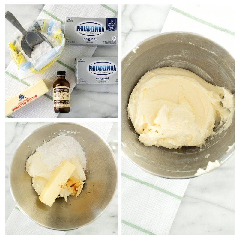 making cream cheese frosting in a mixing bowl