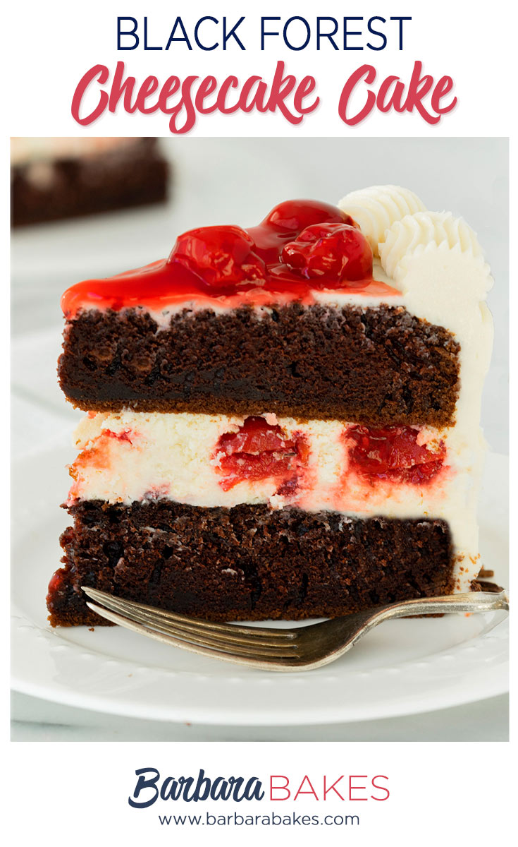 pinterest button for black forest cheesecake cake