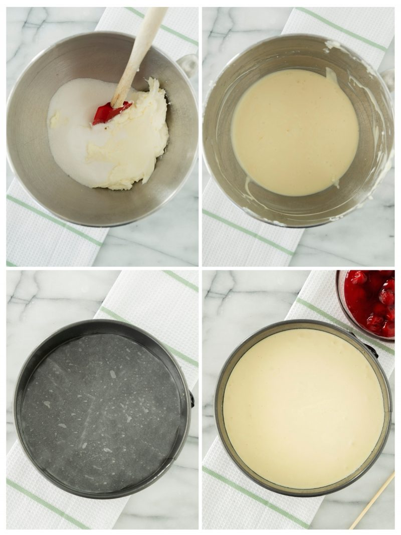 blending cherry cheesecake in a mixing bowl