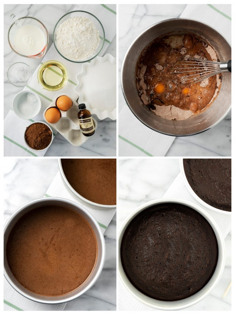 steps to make chocoalte cake for black forest cake