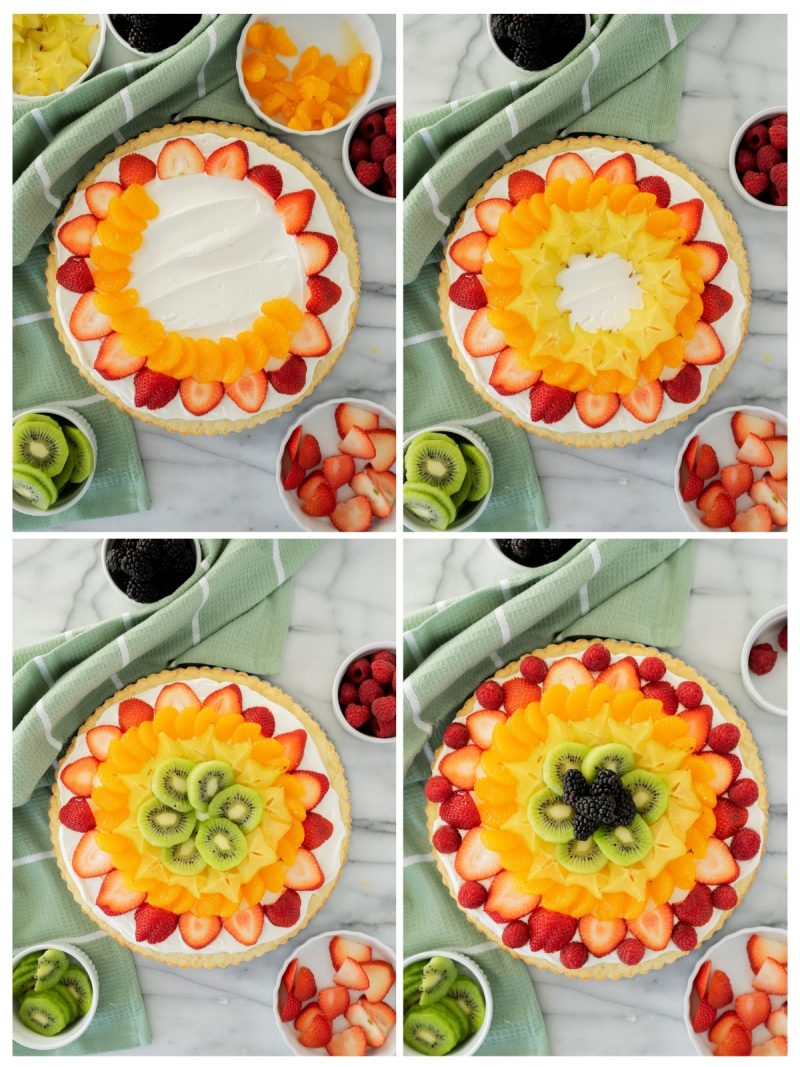 assembling fruit pizza with colorful berries from the outisde in