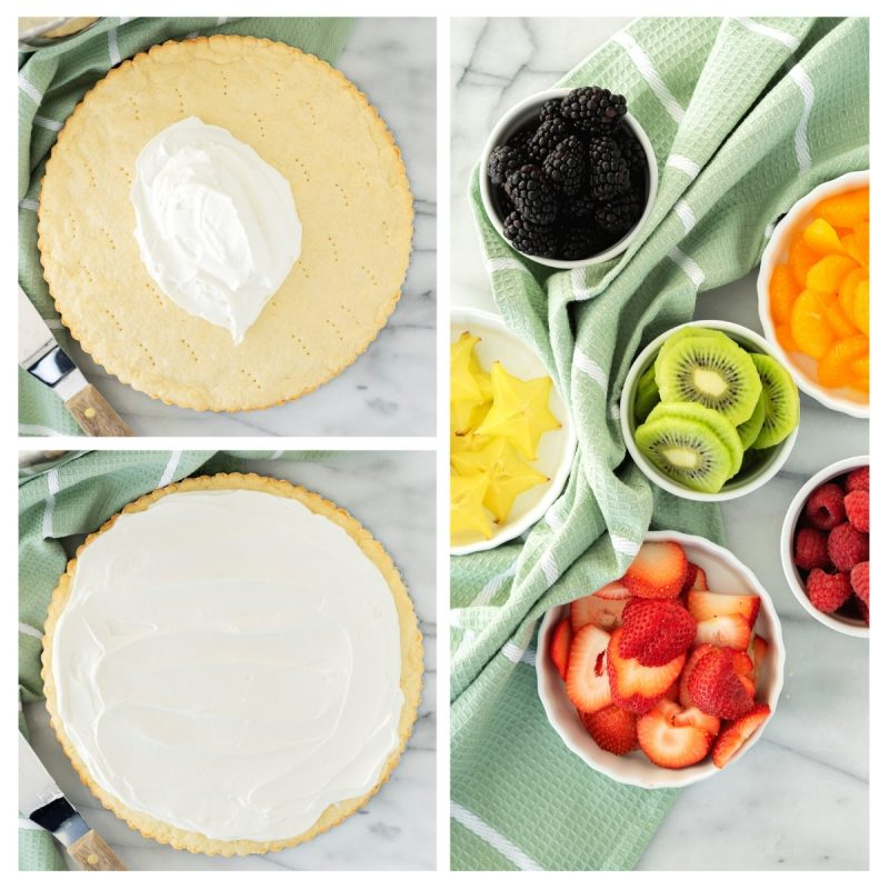 assembling fruit pizza with fresh fruit and berries