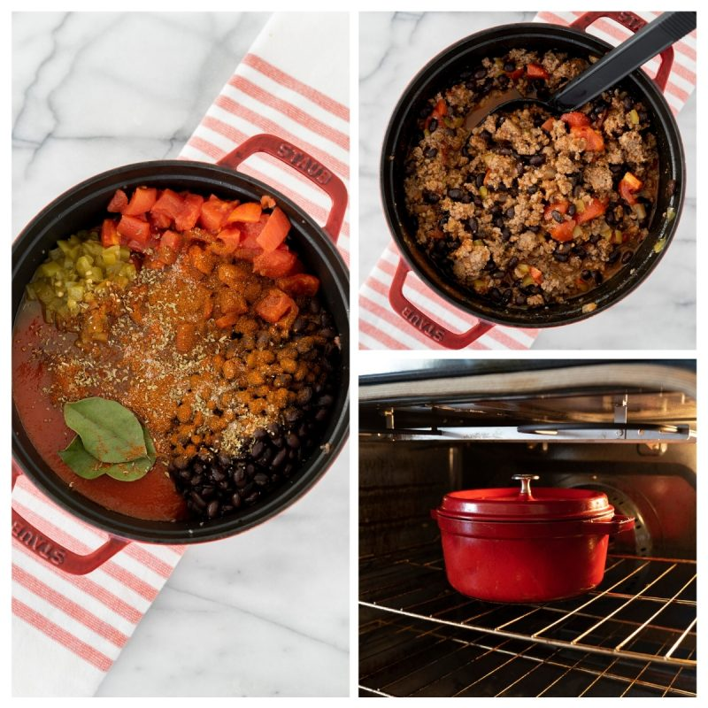 cooking thick oven baked chili in a dutch oven