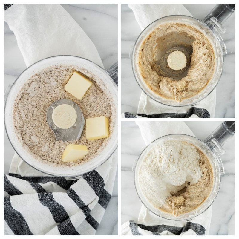 food processor blending ingredients for pecan cookie cups