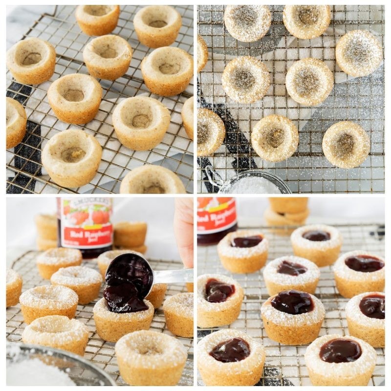 cooling cookie cups and filling with strawberry jam